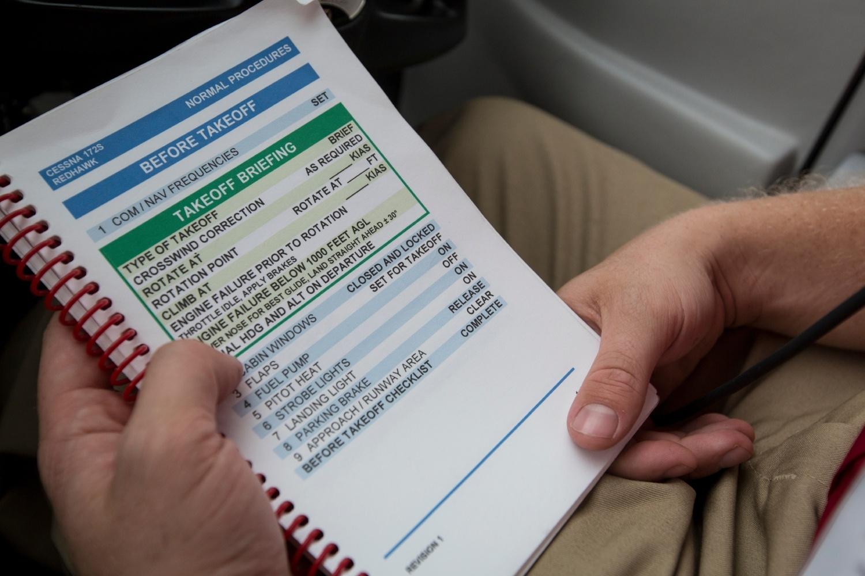 Pilot with checklist